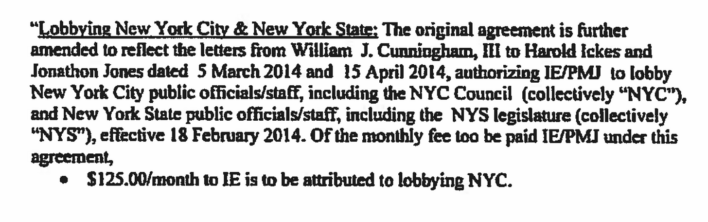 A screenshot from the registration agreement, showing that Ickes Enright will attribute $125 of their fee per month to lobbying New York City.