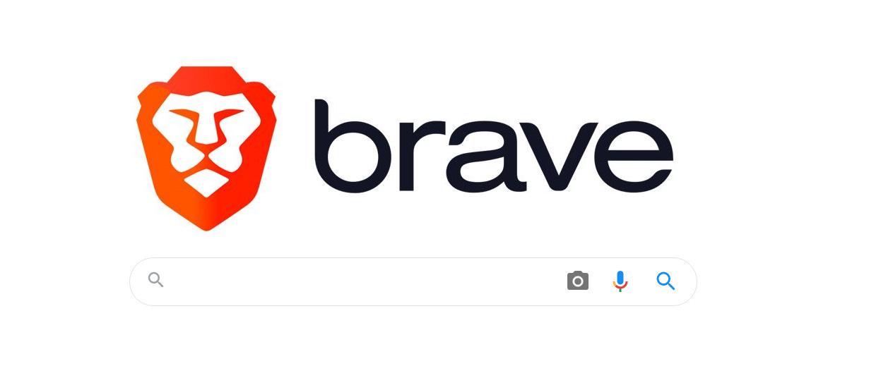 Imagem com logo do Brave em uma página de busca