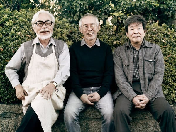 The men behind the cartoons: From left, Hayao Miyazaki, Toshio Suzuki and Isao Takahata, the founders of Studio Ghibli.
