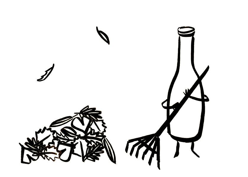 An anthropomorphic wine bottle rakes leaves