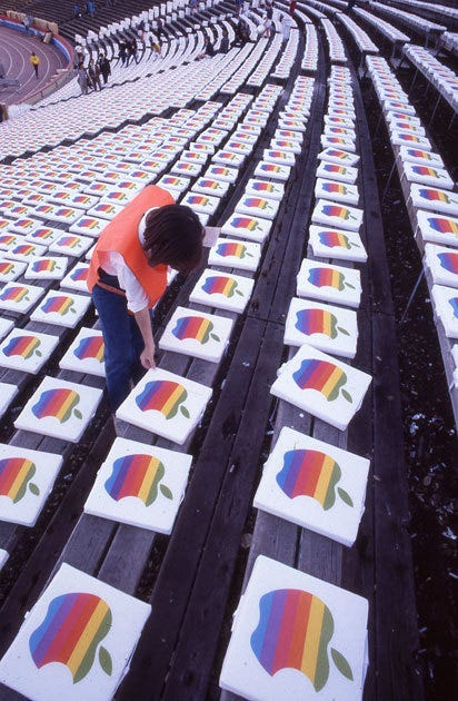 Image result for super bowl 1985 seat cushions apple