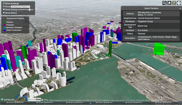 Explore Downtown Miami on the browser in 3D