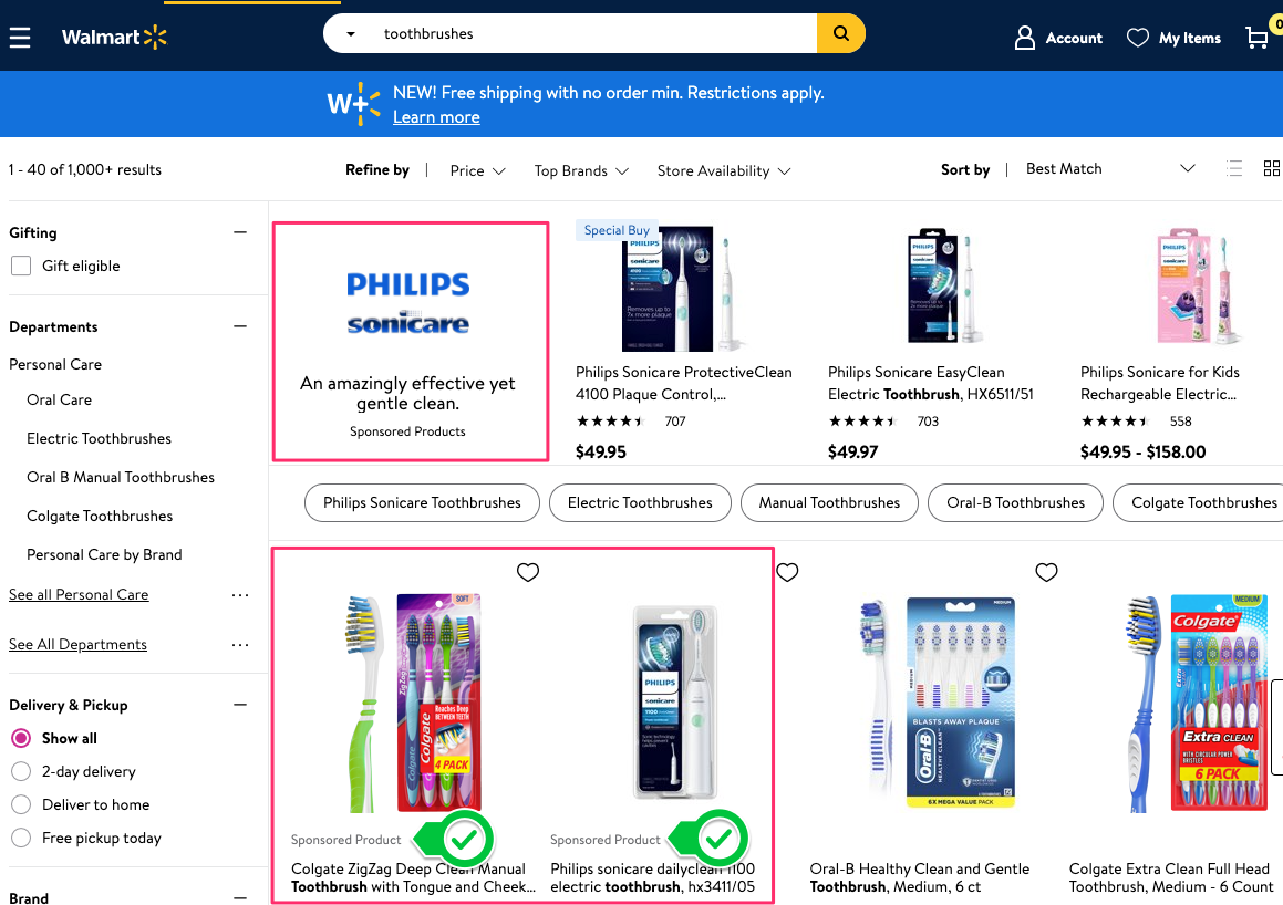 """Screenshot of Walmart.com search landing page. When a user searches for """"toothbrushes"""" on Walmart.com, the first results are """"Sponsored Product"""" listings."""