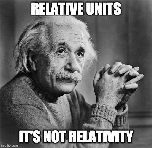 Einstein, probably: Relative units: It's not relativity.