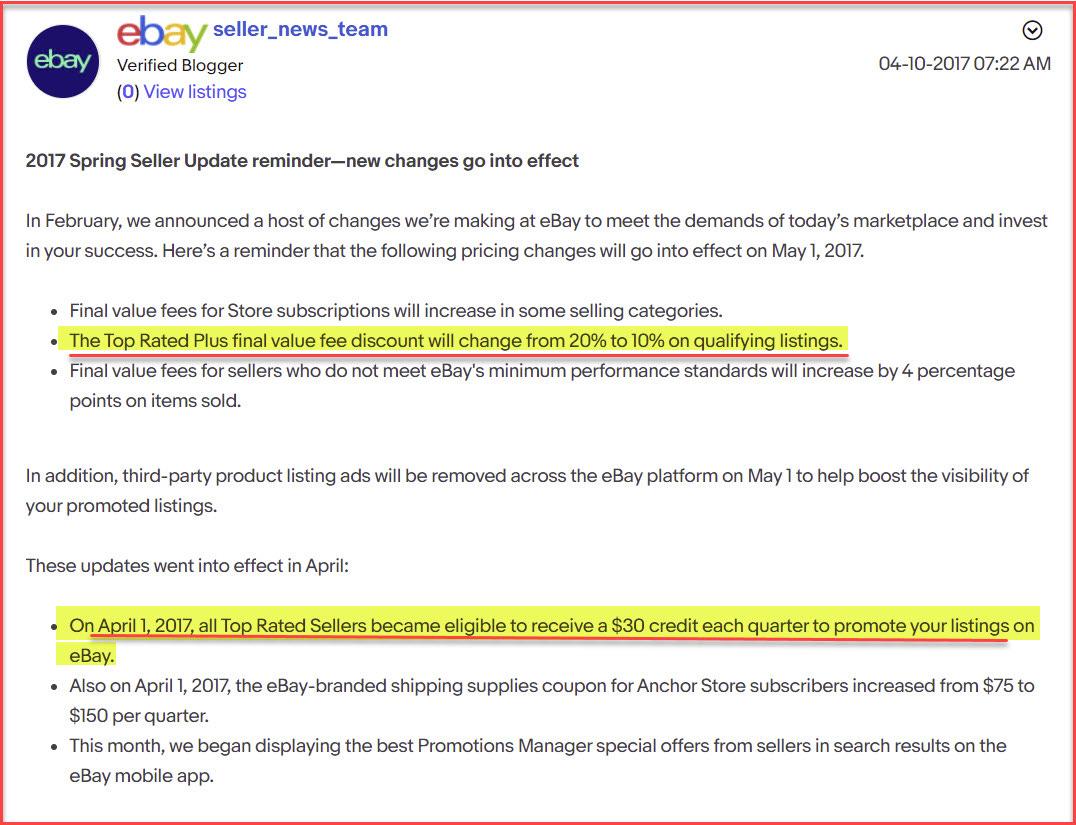 eBay Spring 2017 Seller Update Top Rate Seller Plus Discount