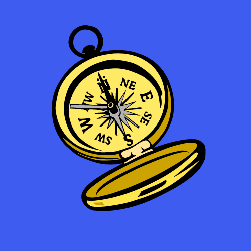 An image of a gold and black compass