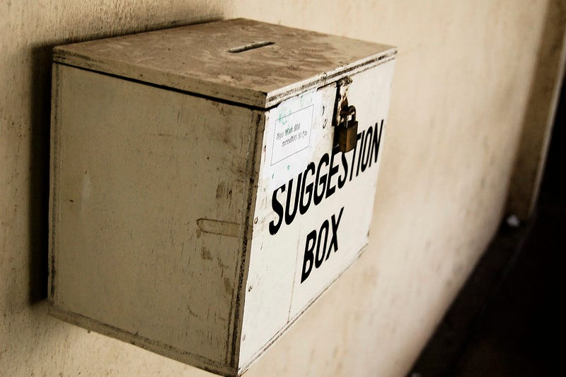 Photo of a suggestion box.