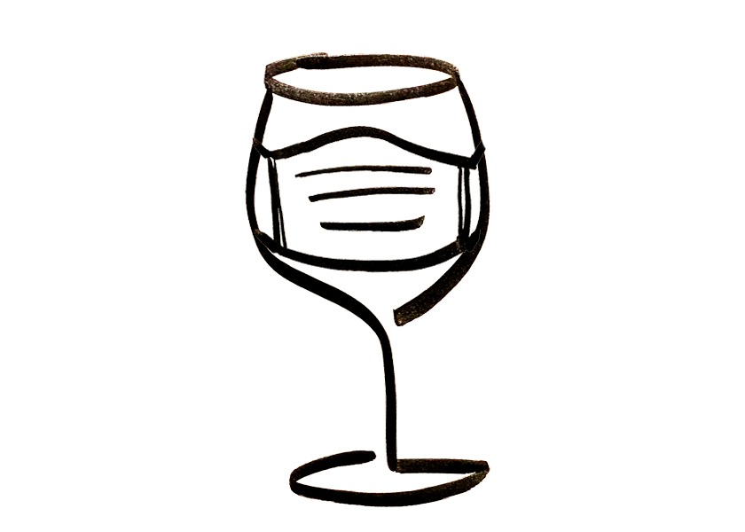 A wine glass wearing a face mask