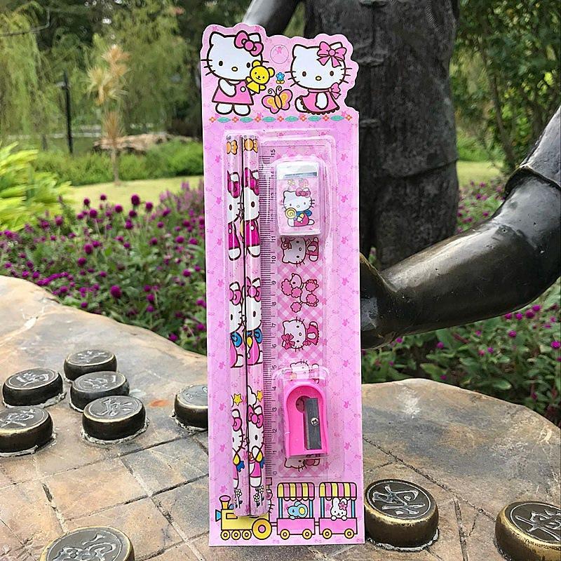 back to school Kawaii Mickey Spiderman Frozen Cartoon Character Stationery Set Pencil Eraser Pencil Sharpener etc