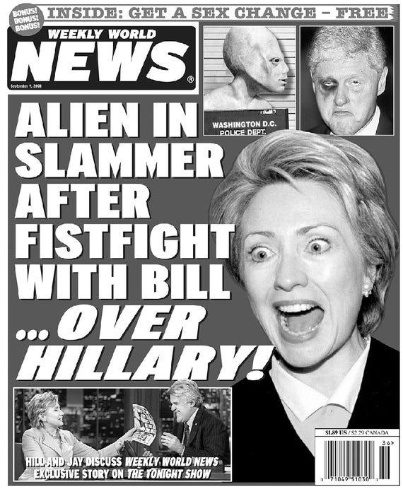 Bat Boy, Hillary Clinton's Alien Baby, and a Tabloid's Glorious Legacy -  The Atlantic
