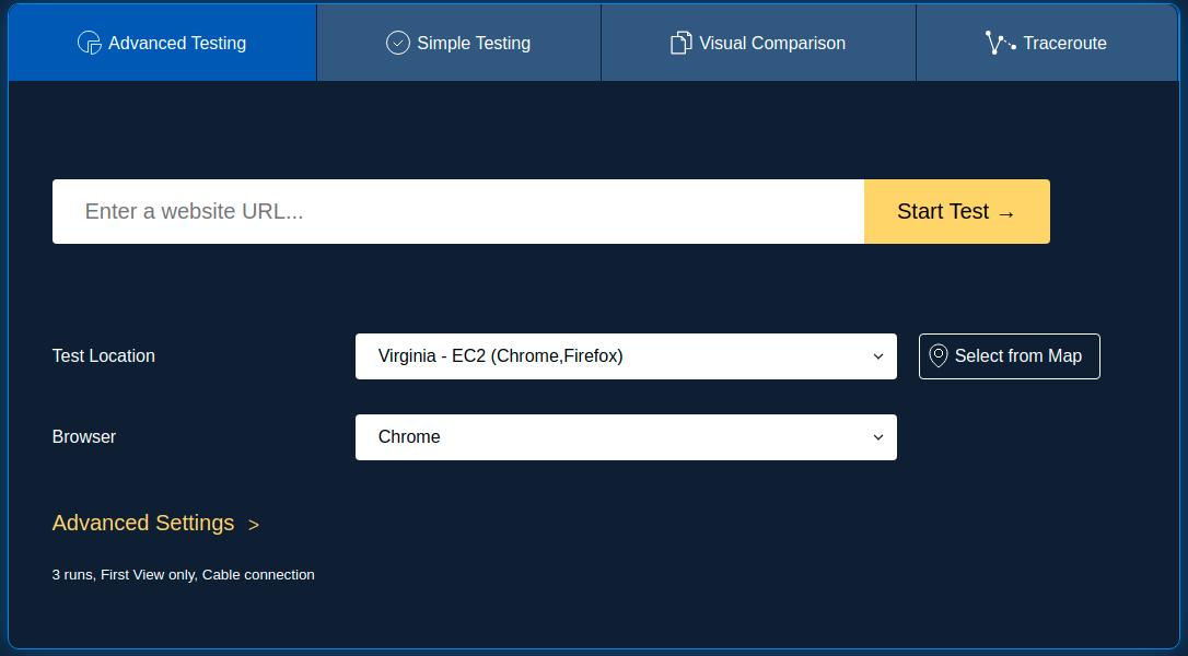 Página do WebPageTtest