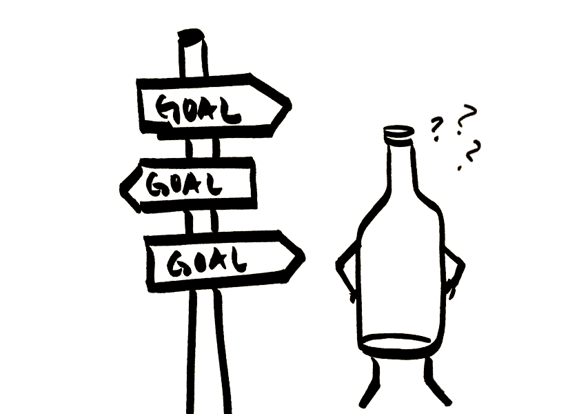 An anthropomorphic wine bottle is confused about goals