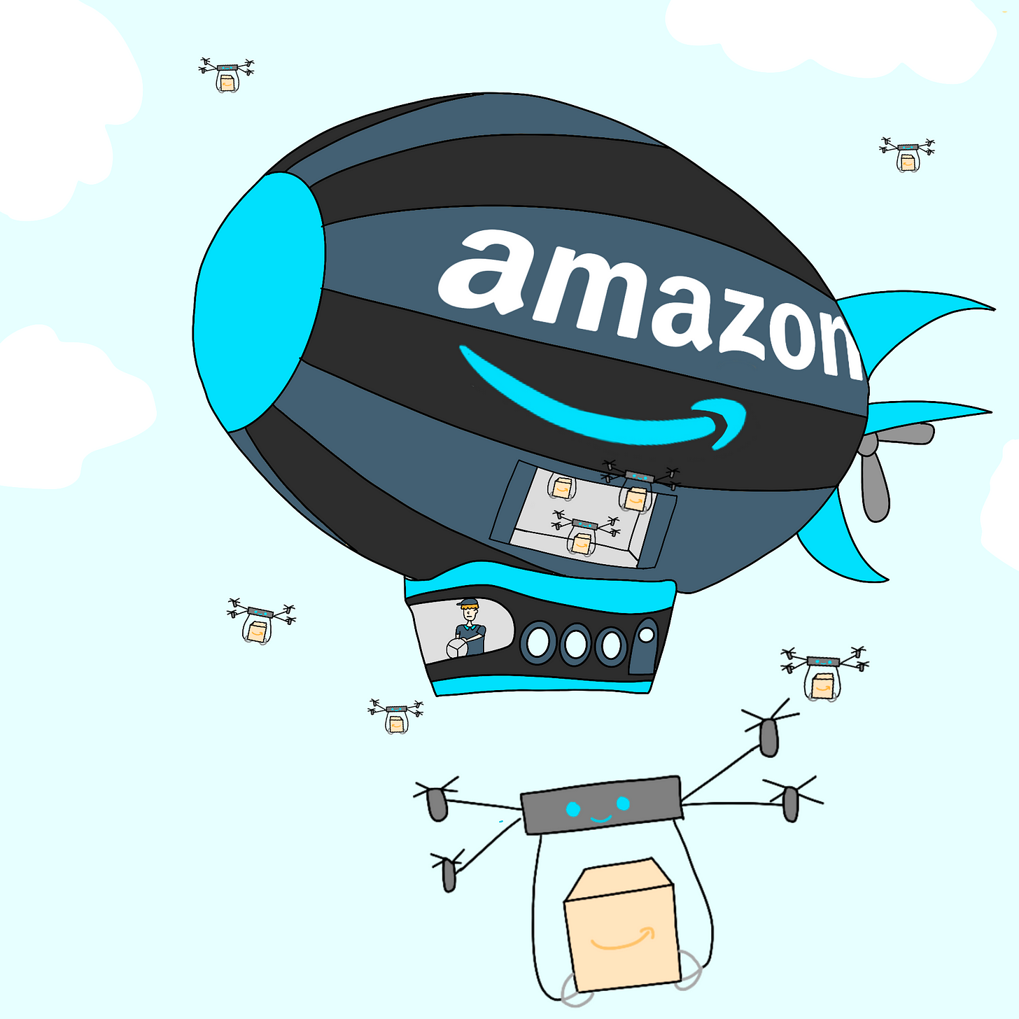 Panel 4: A flying Amazon warehouse and drones carrying packages are shown in the sky.