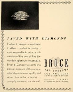 1937 Ad Brock Jewelry Company Los Angeles Ring Diamond - ORIGINAL FTT9