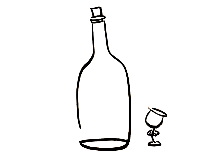 A tiny anthropomorphic wine glass looks up a very large bottle
