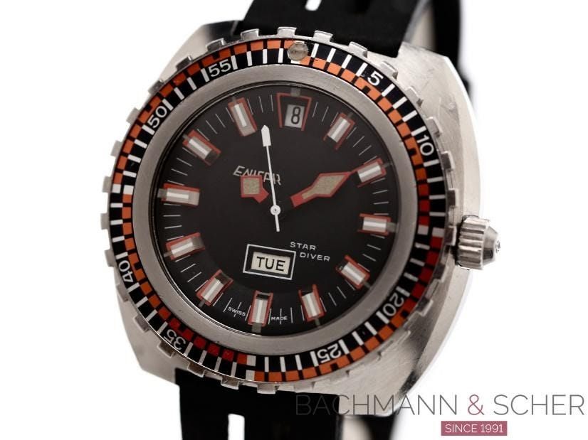 Enicar Vintage Star Diver Day Date Ref- 147-05-02 Stainless Steel Bj-1972