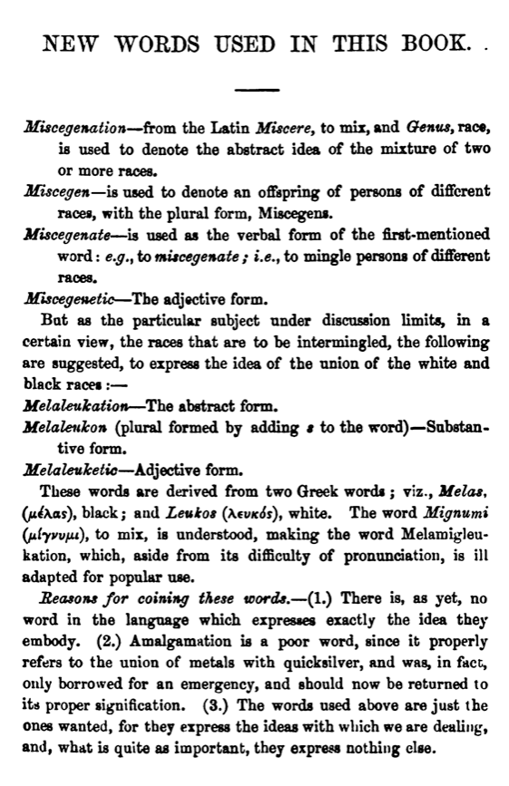 """A page from the pamphlet """"Miscegenation,"""" published 1864"""