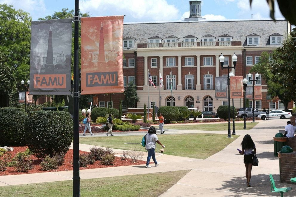 PHOTO: Students walk around the Florida A&M University campus in Tallahassee Fla., Sept. 16, 2020.