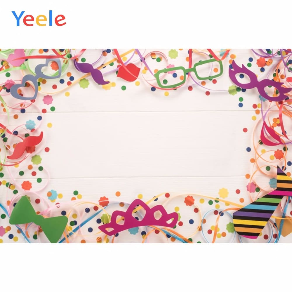 Yeele Wooden Board Colored Ribbon Balloons Birthday Photography Backgrounds Customized Photographic Backdrops for Photo Studio