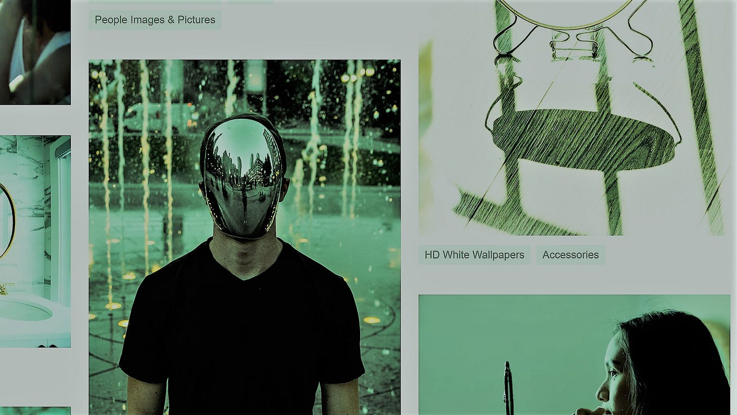 Screenshot of image results for 'mirror' on Unsplash.com; the screenshot is filtered through a greenish hue.