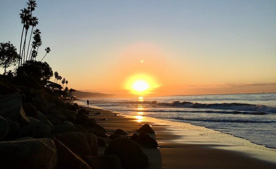 Sunrise on Santa Barbara beach