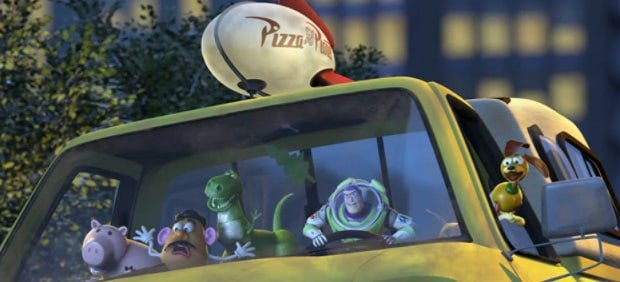 slinky, buzz, rex, mr. potato head, and hamm drive the pizza planet truck to the airport to stop al from taking woody to japan.