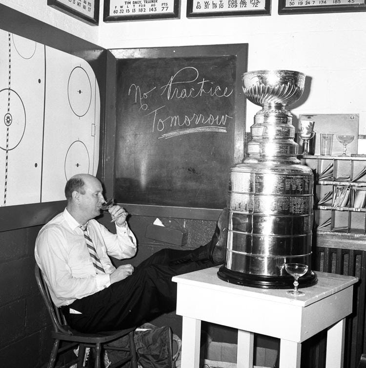 """Hockey Hall of Fame on Twitter: """"#TBT Love this old pic of Punch Imlach and  the Stanley Cup. No practice tomorrow, indeed. http://t.co/4aksRcXP9t  http://t.co/dcyYu2zjap"""""""