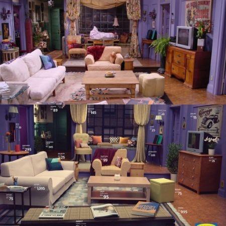 uma montagem de duas imagens. acima, o apartamento da monica em friends. abaixo, uma reconstrução do apê com móveis disponíveis na IKEA e seus preços ao lado. apesar dos móveis serem diferentes, a similaridade é impressionante.