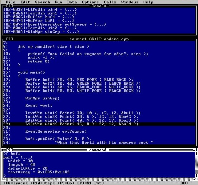 Programmers Workbench running in character mode. A complex screen of code and debug information.