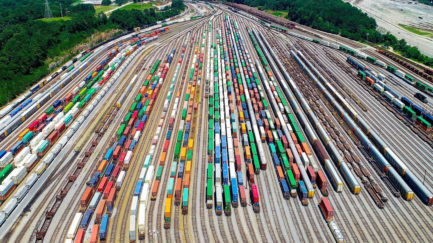 Aerial view of the Atlanta rail yard