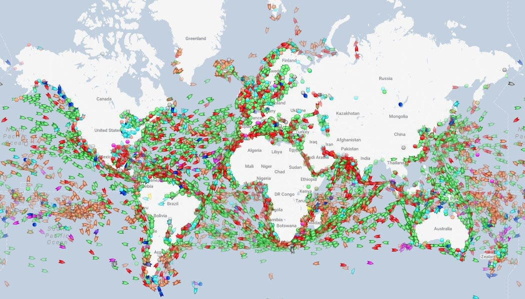 Map of global shipping routes
