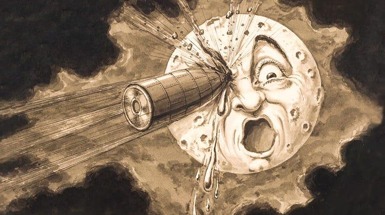 Original artwork fromGeorges Méliès's  A Trip to the Moon.