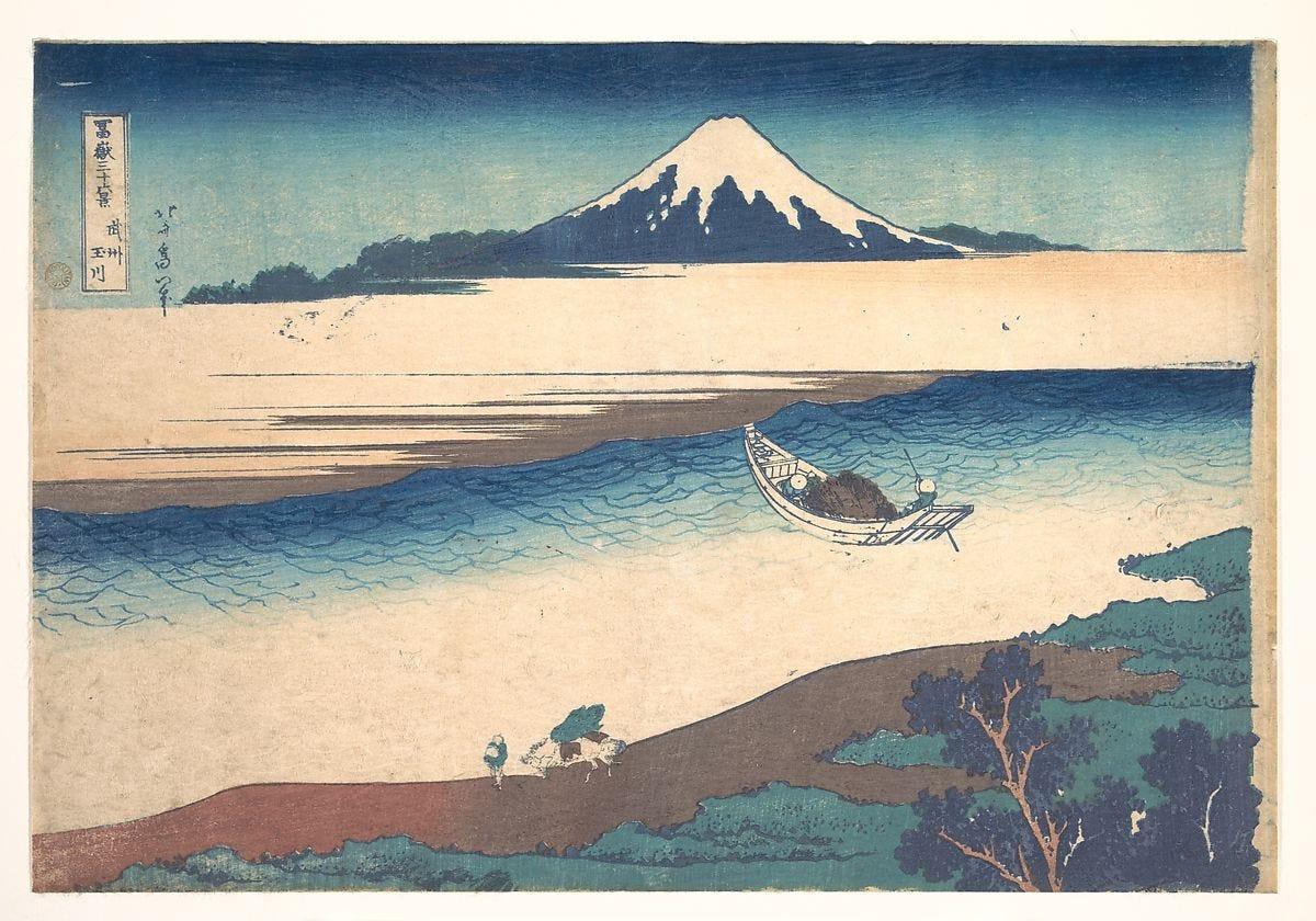 Tama River in Musashi Province (Bushū Tamagawa), from the series Thirty-six Views of Mount Fuji (Fugaku sanjūrokkei), Katsushika Hokusai (Japanese, Tokyo (Edo) 1760–1849 Tokyo (Edo)), Woodblock print; ink and color on paper, Japan