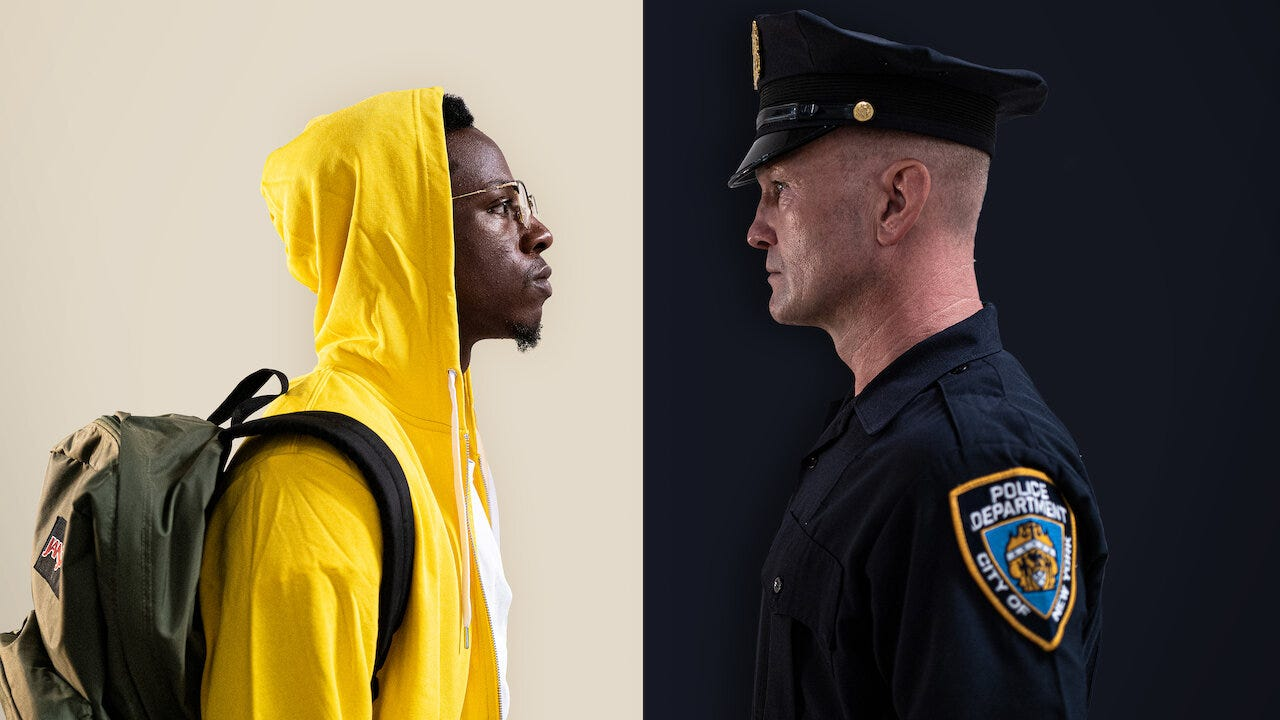 Joey Badass and Andrew Howard as Carter James and Officer Merk in Two Distant Strangers