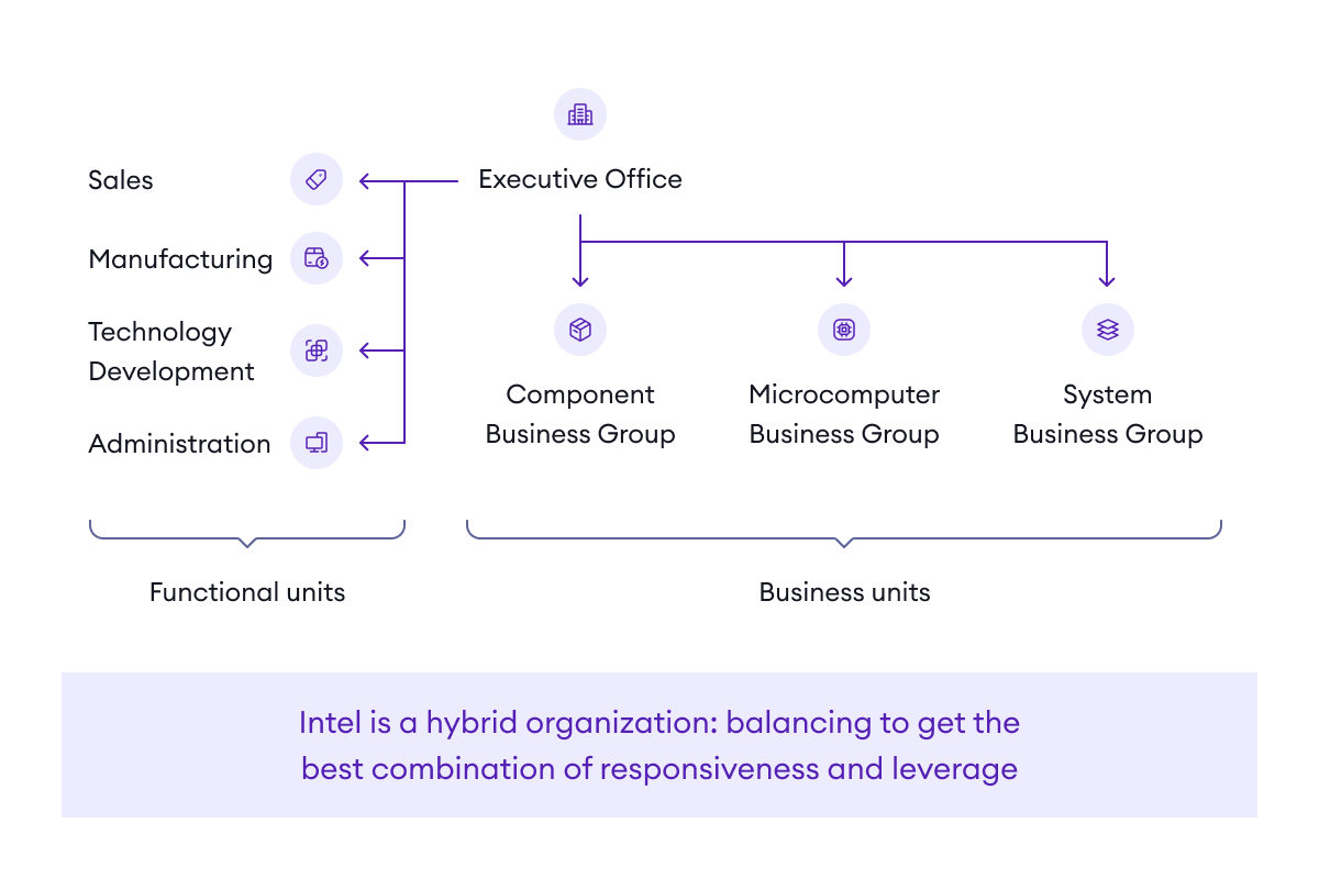 A hybrid organization is a mix of mission-oriented and functional groups which provides the best combination of responsiveness and leverage