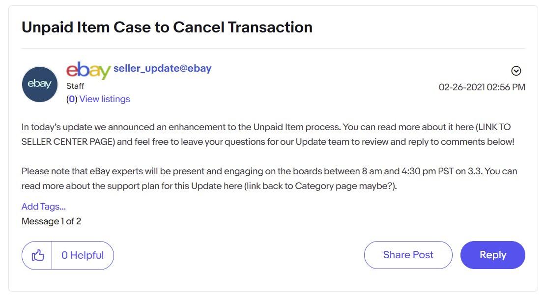 eBay Spring Seller Update Unpaid Item