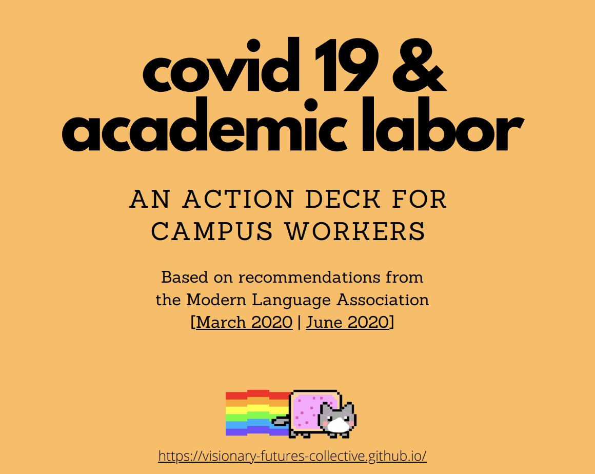 orange square with text reading covid 19 and academic labor: an action deck for campus workers, based on recommendations from the Modern language Association. With a Nyan cat, a cat wearing a covid mask with a pop-tart body and rainbow coming out of its butt.