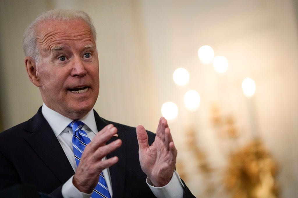President Biden discusses his remarks about Facebook at the White House on Monday. (Drew Angerer / Getty Images)