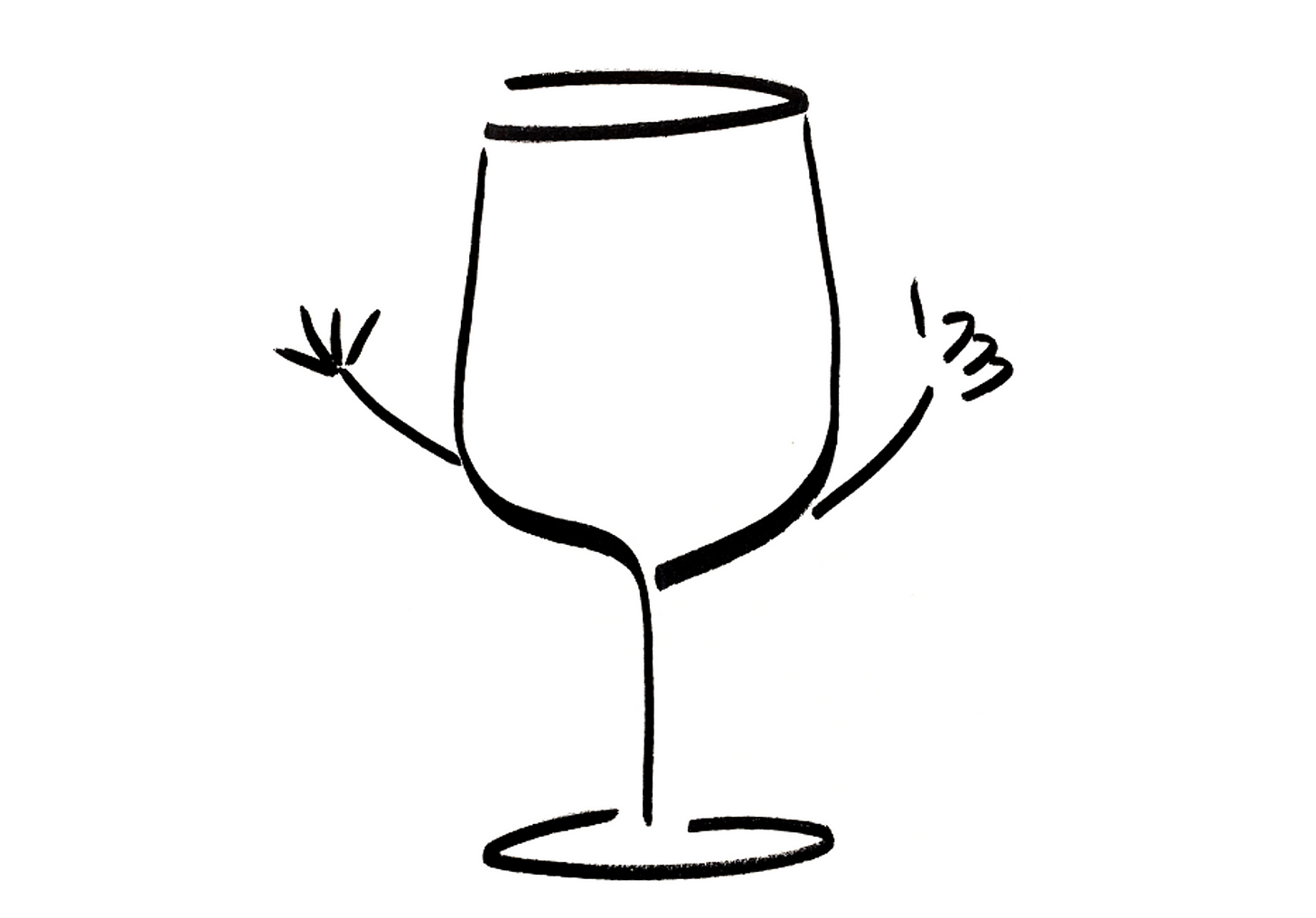 Anthropomorphic wine glass counting to five