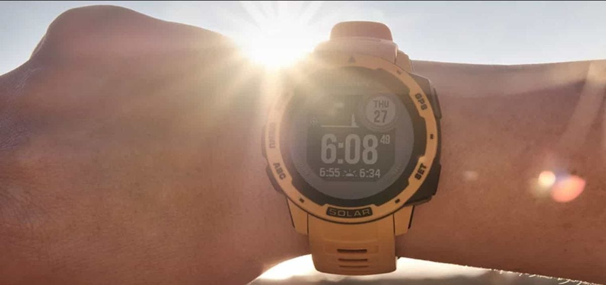 solar powered garmin instinct watch