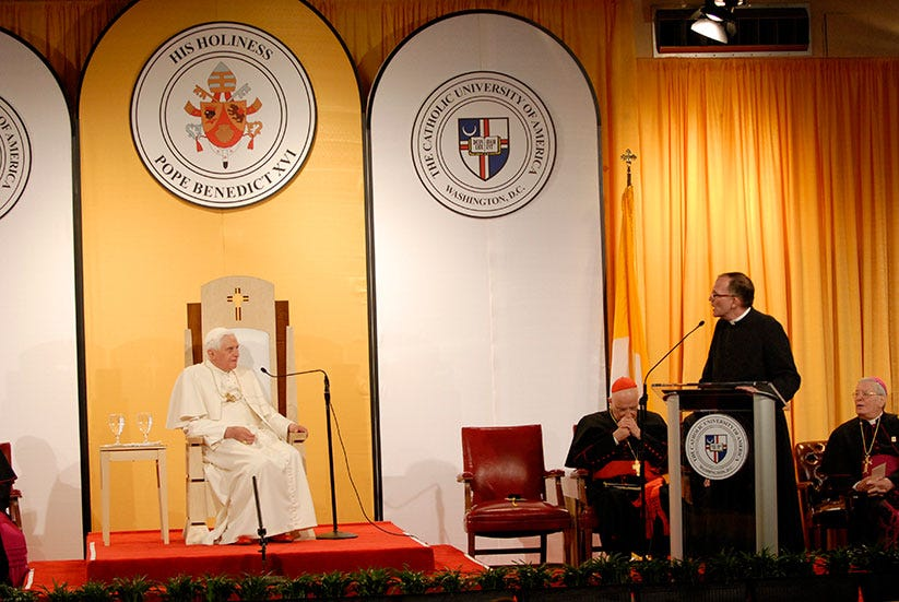 Then-Father O'Connell, 14th president of The Catholic University of America, welcomed Pope Benedict XVI to CUA campus on April 17, 2007.