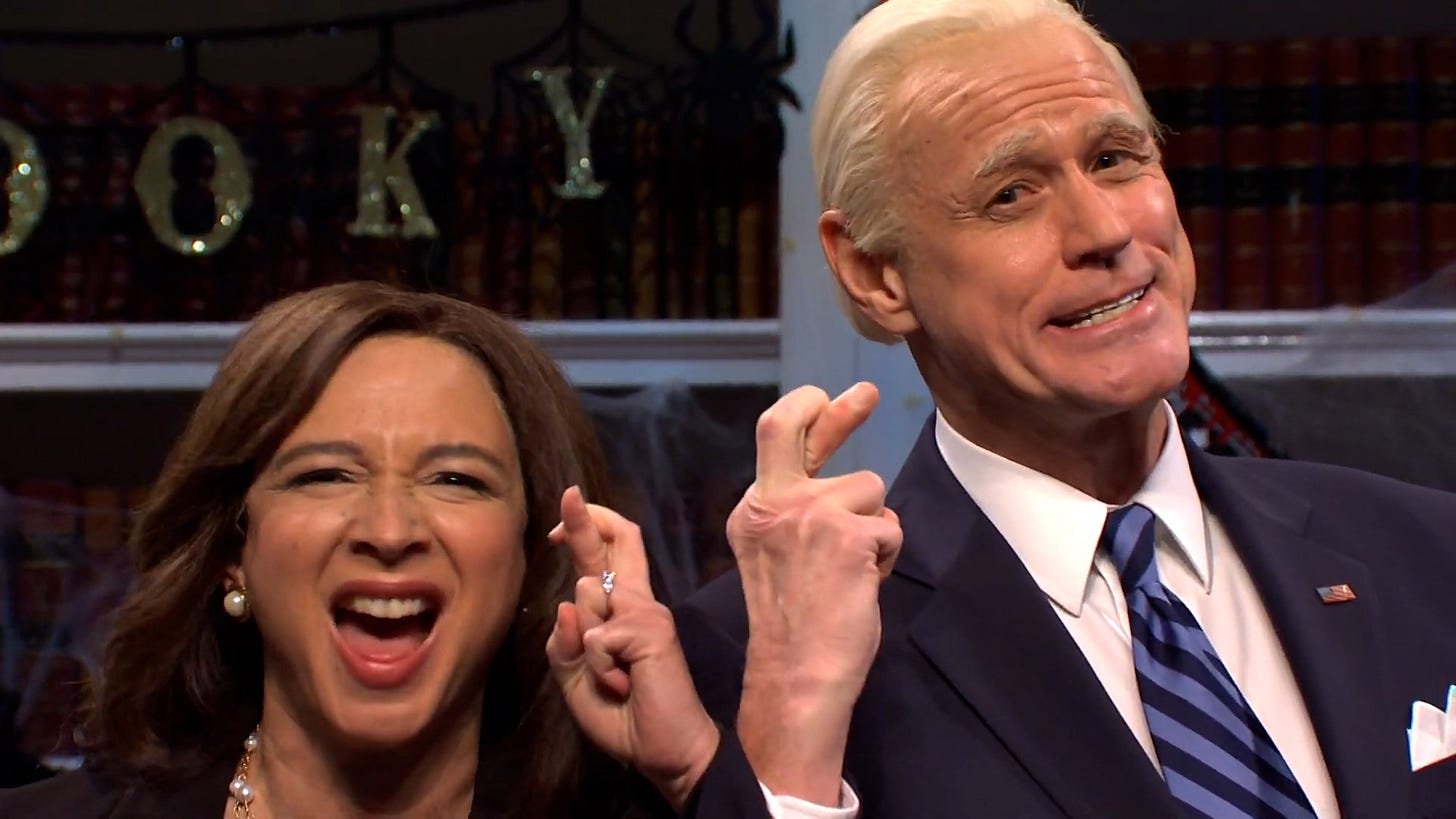 Jim Carrey and Maya Rudolph cross fingers while playing Joe Biden and Kamala Harris on SNL ahead of the 2020 election