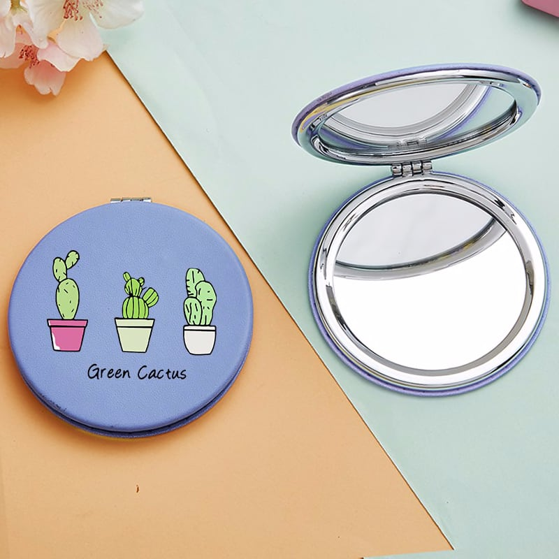 Cartoon Cactus Mini Makeup Mirrors with 2 Face Funny Letter Magnifying Cosmetic Pocket Compact Vanity Mirror Facial Care Tools