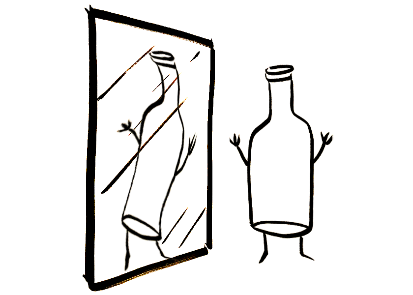 An anthropomorphic wine bottle looks at itself in a funhouse mirror
