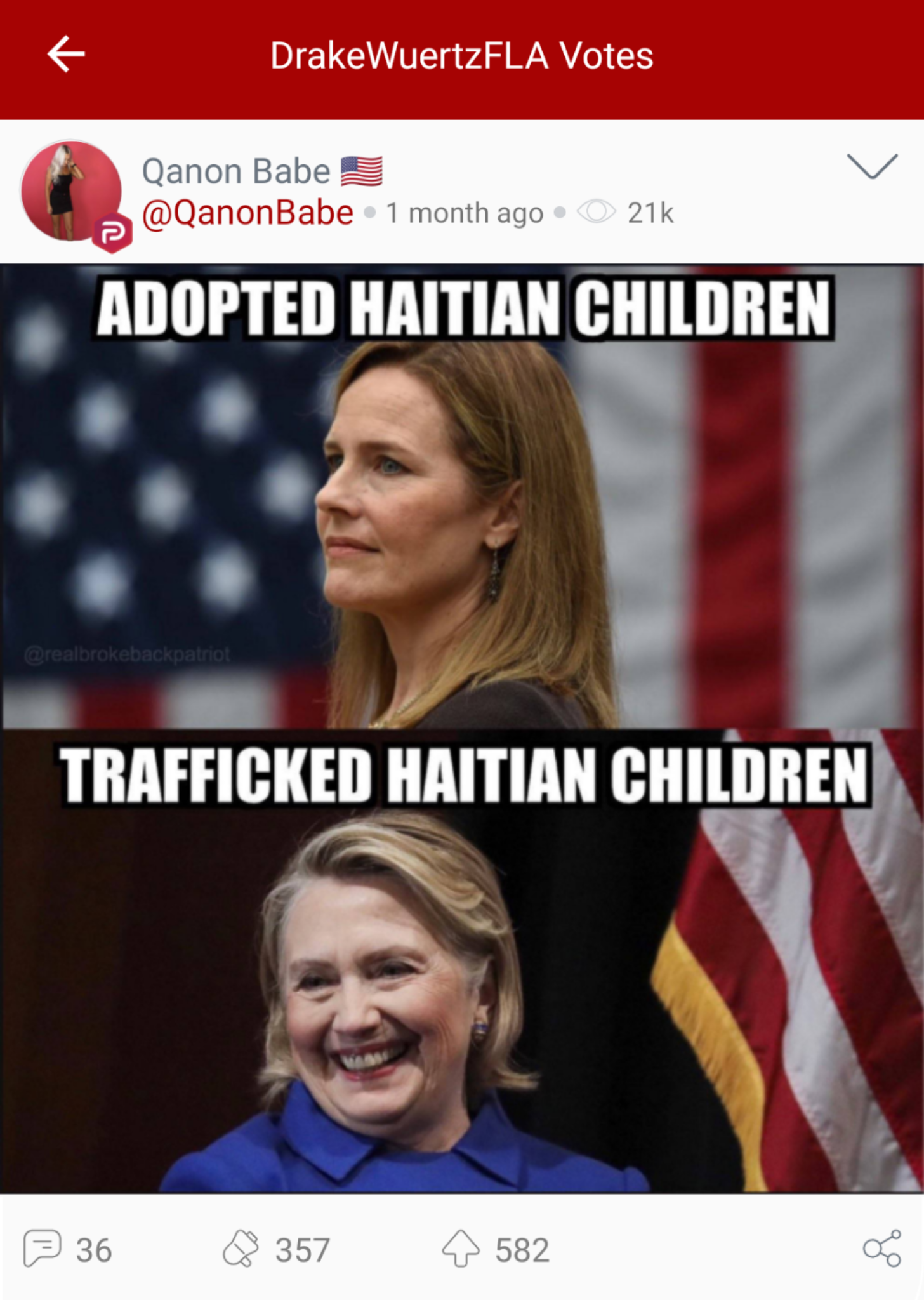 "@DrakeWuertzFLA ""votes"" a Parler post from ""QAnon Babe"" that boosts the baselss conspiracy theory that alleges Hillary Clinton trafficked children in Haiti. (Image: Parler screenshot.)"