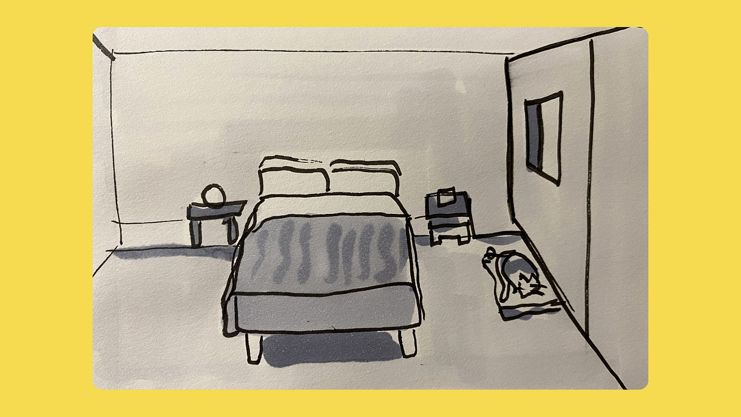 Sketch of a bed being made