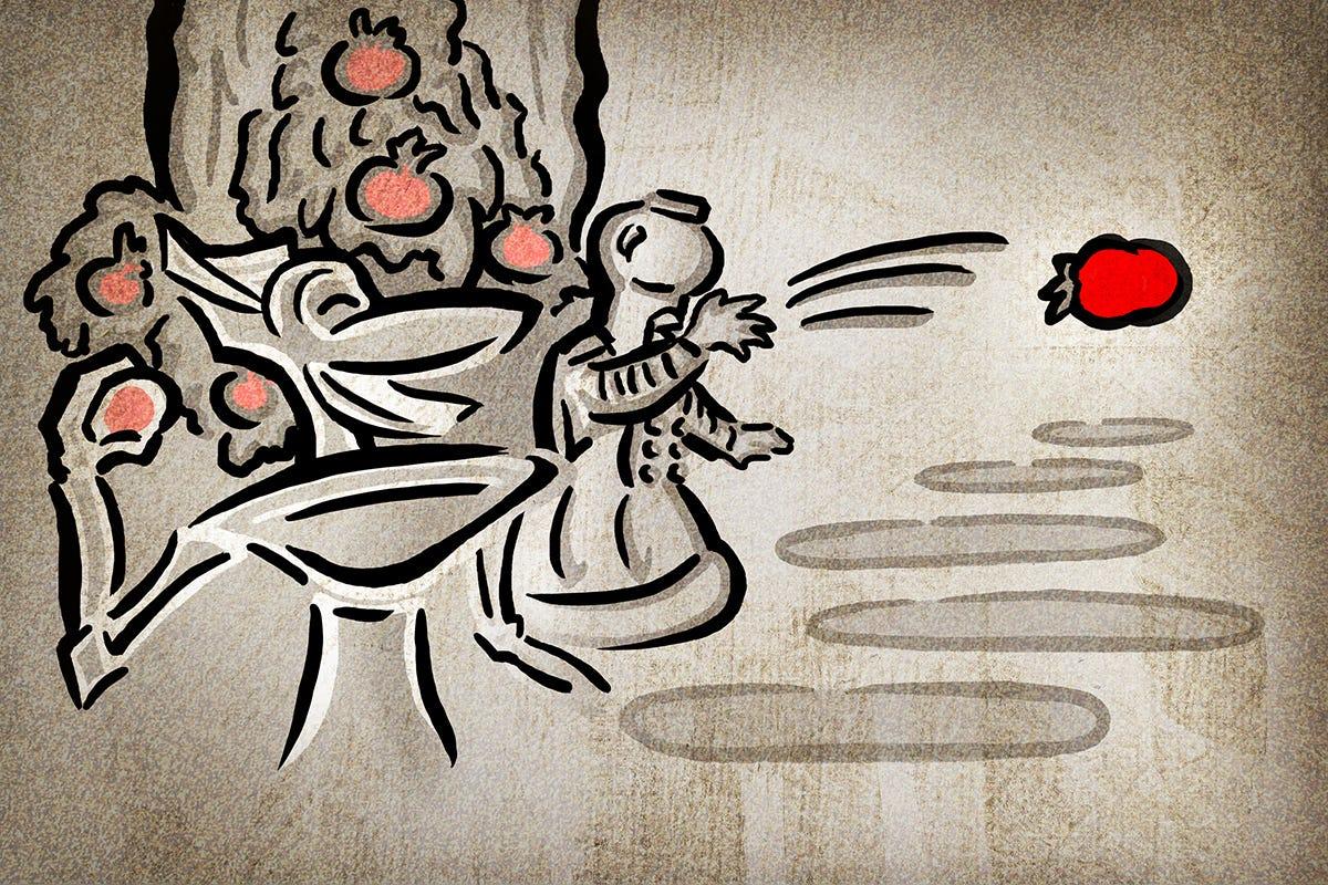 Crow and Tom Servo throwing tomatoes