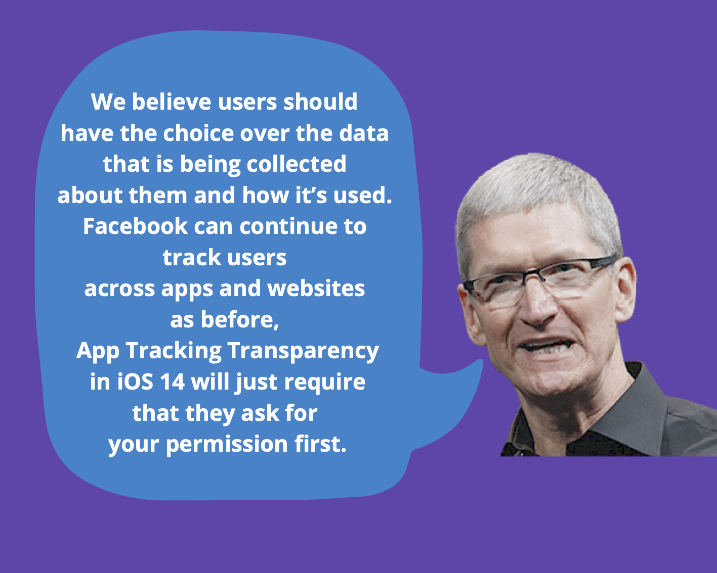 Tim Cook suggests Facebook should give user's a choice in a tweet.