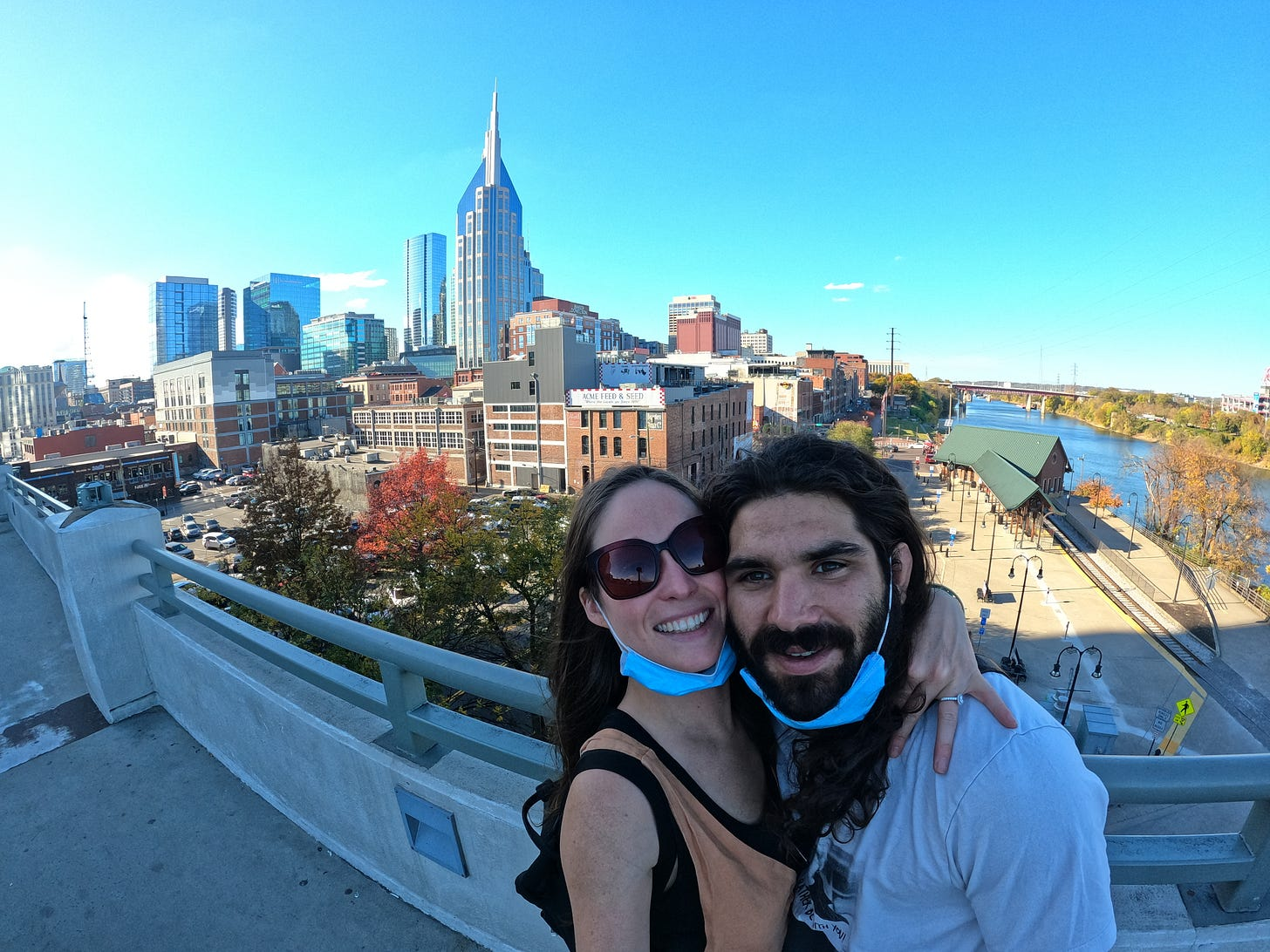 Anthony & Kelly selfie on the walking bridge overlooking the Cumberland River & Nashville, TN