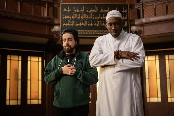 "Ramy Youssef, left, with Mahershala Ali in a scene from Season 2 of ""Ramy."" Unlike with a lot of previous portrayals of American Muslims, Youssef's character is unafraid to display his faith."